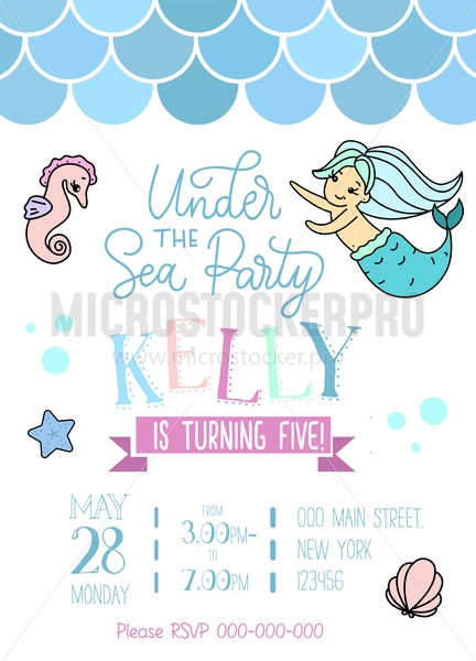 Mermaid party invitation for little girl mermaid. Greeting card with hand drawn cute mermaid, lettering and doodles. - Vector illustrations for everyone | Microstocker.Pro