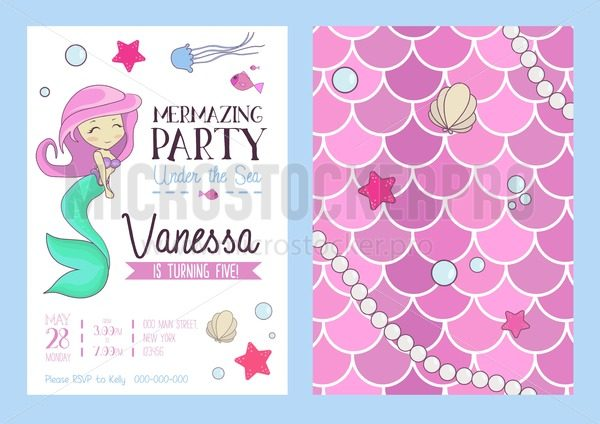 Mermaid party invitation with cute mermaid, starfish, seashell and scales. Birthday party design template with cartoon hand drawn elements. Vector illustration - Vector illustrations for everyone | Microstocker.Pro