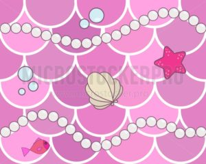 Mermaid scales seamless background pattern. Pink fish scales with cartoon pearls, starfish, bubbles and seashell. Cute background for card, print, invitation etc. - Vector illustrations for everyone | Microstocker.Pro