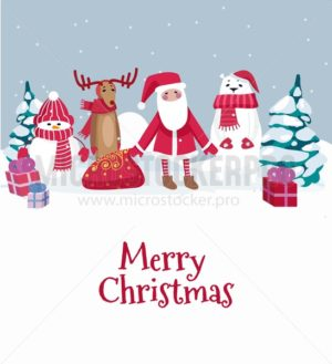 Merry Christmas cute greeting card with winter characters. Vector illustration - Vector illustrations for everyone | Microstocker.Pro