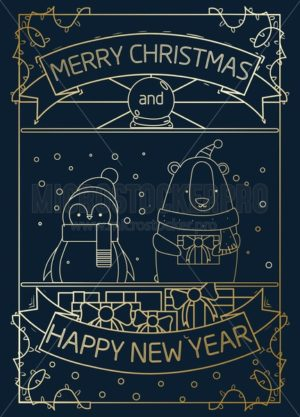 Merry Christmas gold greeting card design with geometric penguin and bear. Elegance design template for Christmas greeting card, poster or party invitation. Vector illustration. - Vector illustrations for everyone | Microstocker.Pro