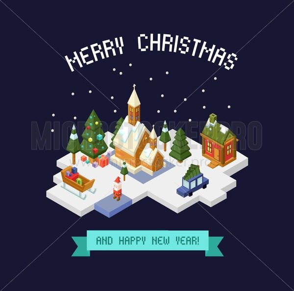 Merry Christmas greeting card with isometric city view isolated on blue background. - Vector illustrations for everyone | Microstocker.Pro