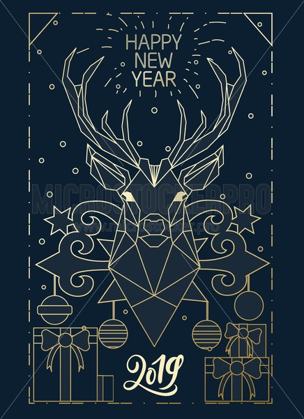 Merry Christmas linear gold greeting card design with geometric deer and decorations. Elegance design template for Christmas greeting card, poster or party invitation. Vector illustration. - Vector illustrations for everyone | Microstocker.Pro