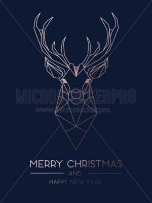 Merry Christmas minimalistic greeting card design with rose gold geometric deer. Elegance design template for Christmas greeting card, poster or party invitation. Vector illustration. - Vector illustrations for everyone | Microstocker.Pro