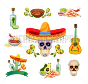 Mexican food and decorations set isolated on white background. Tequila, guitar, food etc. Vector illustration. - Vector illustrations for everyone | Microstocker.Pro
