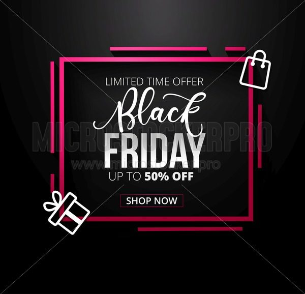 Modern Black friday banner design template with icons and lettering on black background. Vector illustration - Vector illustrations for everyone | Microstocker.Pro
