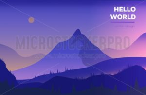 Modern polygonal landscape  with mountains. vector illustration. Modern design template for web-banner - Vector illustrations for everyone | Microstocker.Pro