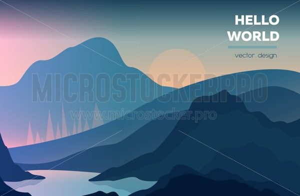 Modern polygonal landscape  with mountains. vector illustration. Modern design template for web-banner - Vector illustrations for everyone   Microstocker.Pro