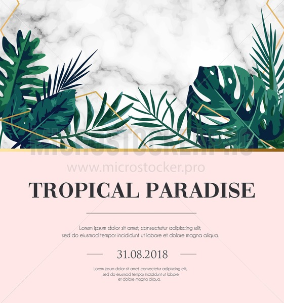 Modern tropical design template with white marble texture and blush pink background. Elegant design template for wedding invitation, party, greeting card or anniversary. Vector illustration. - Vector illustrations for everyone | Microstocker.Pro