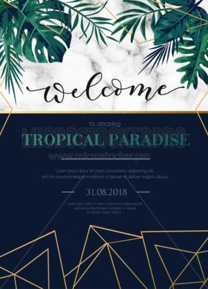 Modern tropical party invitation with white marble texture and lettering inscription welcome. Elegant design template for wedding invitation, party, greeting card or anniversary. - Vector illustrations for everyone | Microstocker.Pro