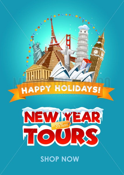 New year travel promo flyer design. Vector illustration - Vector illustrations for everyone | Microstocker.Pro