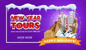 New year travel promo web banner design. Vector illustration - Vector illustrations for everyone | Microstocker.Pro
