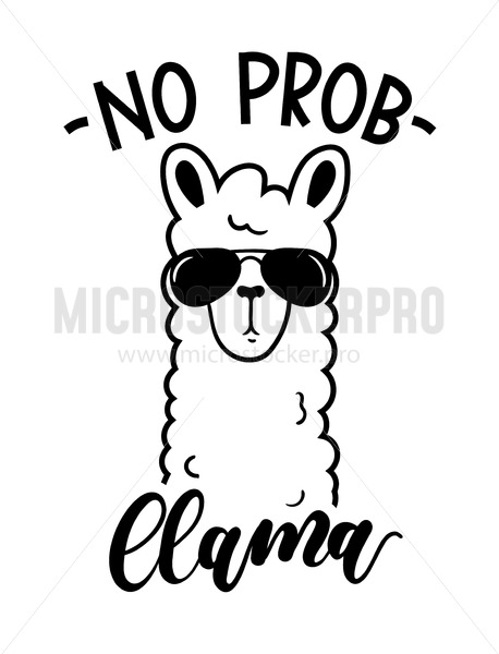 No probllama card isolated on white background. Simple white llama with sunglasses and lettering. Motivational poster for prints, cases, textile or greeting cards. Vector illustration. - Vector illustrations for everyone | Microstocker.Pro