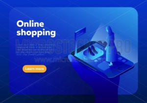 Online shopping isometric vector illustration.Internet shop store in Smartphone with customer. - Vector illustrations for everyone   Microstocker.Pro