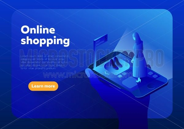 Online shopping isometric vector illustration.Internet shop store in Smartphone with customer. - Vector illustrations for everyone | Microstocker.Pro