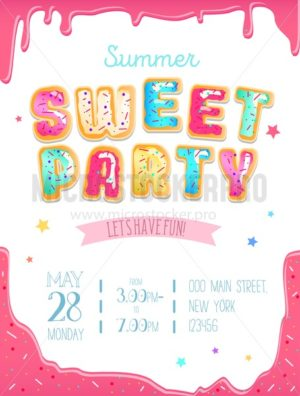 Party cute invitation design. Sweet donut party poster for birthday party, kid's zone or summer camp. Vector illustration. - Vector illustrations for everyone | Microstocker.Pro