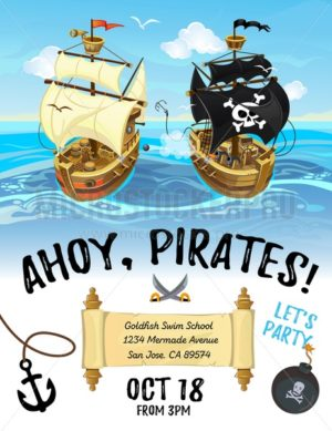 Pirate party cartoon invitation design with pirate ship and sea. Vector design template for poster or invitation. - Vector illustrations for everyone | Microstocker.Pro