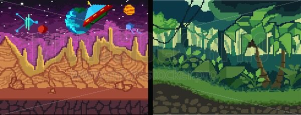 Pixel art backgrounds set. Pixel Jungle and space theme for games, posters, videos etc. Vector illustration. - Vector illustrations for everyone | Microstocker.Pro
