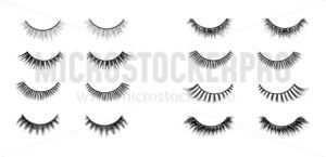 Realistic lashes set. Lashes extensions vector illustration. - Vector illustrations for everyone | Microstocker.Pro