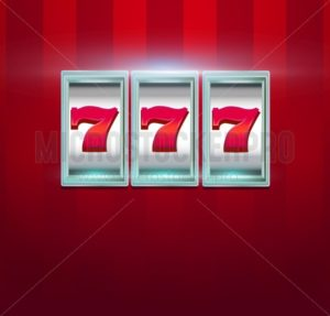 Retro casino machine with lucky seven signs on red background. Slot machine with jackpot. Vector illustration. - Vector illustrations for everyone | Microstocker.Pro