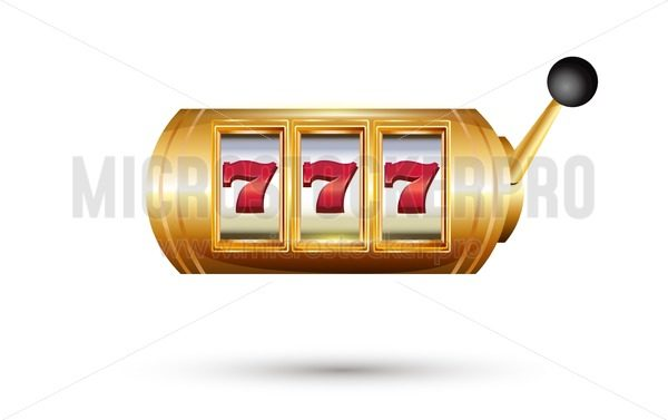 Retro golden casino machine with lucky seven signs isolated on white background. Slot machine with jackpot. Vector illustration. - Vector illustrations for everyone | Microstocker.Pro