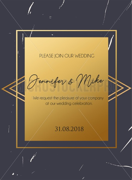 Retro minimalistic design template with grunge effect and gold decorations. Wedding invitation design. - Vector illustrations for everyone | Microstocker.Pro