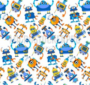 Robots seamless pattern on white background. Colorful futuristic characters design for posters, wrapping paper, cards, flyers etc. Vector illustration - Vector illustrations for everyone | Microstocker.Pro