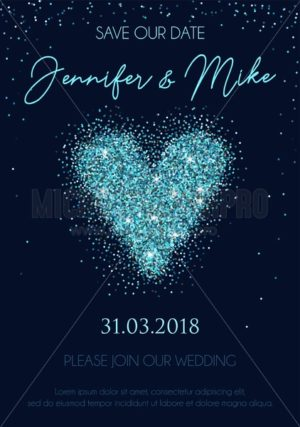 Save our date wedding invitation design. Elegance template for engagement or wedding with blue glitter heart and navy blue background. Vector illustration. - Vector illustrations for everyone | Microstocker.Pro