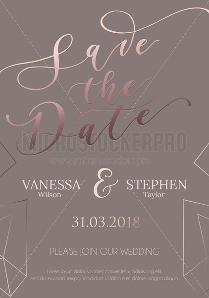 Save our date wedding invitation design. Elegance template for engagement or wedding with rose gold glitter heart and brown background. Vector illustration. - Vector illustrations for everyone | Microstocker.Pro