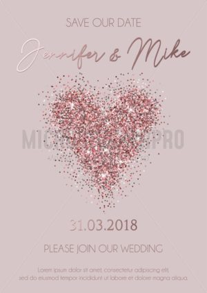 Save our date wedding invitation design. Elegance template for engagement or wedding with rose gold glitter heart and dark rose background. Vector illustration. - Vector illustrations for everyone | Microstocker.Pro