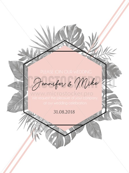 Save the date tropical invitation design. Modern wedding card with grey tropical leaves and blush pink geometric elements. Trendy design for poster or greeting card. - Vector illustrations for everyone | Microstocker.Pro