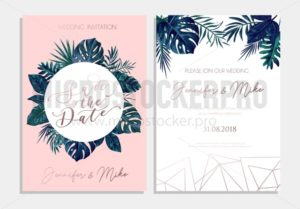 Save the date tropical invitation design. Modern wedding card with tropical leaves and blush pink background. Trendy design for poster or greeting card. - Vector illustrations for everyone | Microstocker.Pro