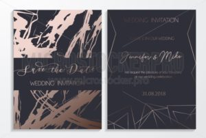 Save the date wedding invitation cards on dark and platinum textured background with lettering and geometric lines. Elegant design template for  wedding invitation. - Vector illustrations for everyone | Microstocker.Pro