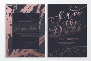 Save the date wedding invitation cards on dark and rose gold textured background with lettering and geometric lines. Elegant design template for  wedding invitation. - Vector illustrations for everyone | Microstocker.Pro