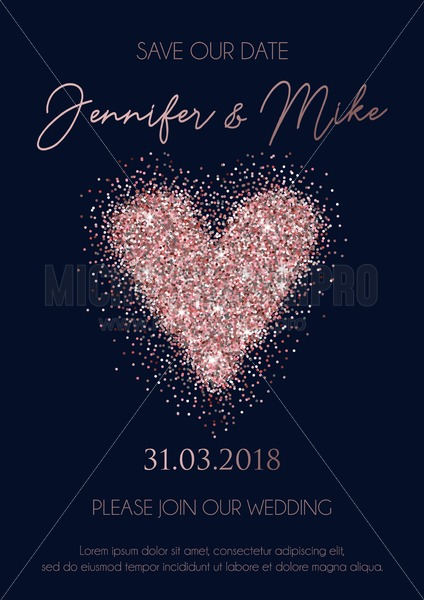 Save the date wedding invitation cards on navy blue background with rose gold lettering,glittered heart and geometric lines. Elegant design template for wedding invitation. - Vector illustrations for everyone | Microstocker.Pro