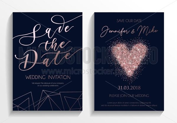 Wedding Invition Cards.Save The Date Wedding Invitation Cards On Navy Blue Background With Rose Gold Lettering Glittered Heart And Geometric Lines Elegant Design Template