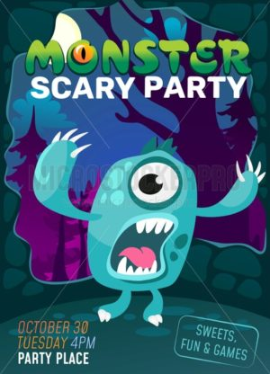 Screaming cartoon monster illustration for Halloween, party, cards or posters. - Vector illustrations for everyone | Microstocker.Pro
