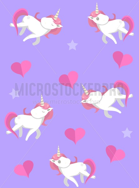 Seamless pattern with cute unicorns and hearts on violet background. Trendy print for textile, wrapping paper, cards etc. - Vector illustrations for everyone | Microstocker.Pro