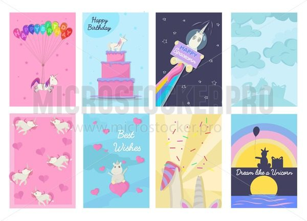 Set of Birthday greeting cards and invitations with unicorns. Vector illustration. - Vector illustrations for everyone | Microstocker.Pro