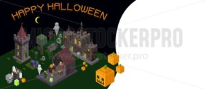 Set of Halloween isometric elements. Castle, tower, witch, ghost, cemetery, wood, poison and fireplace. Vector illustration - Vector illustrations for everyone | Microstocker.Pro