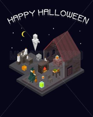 Set of Halloween isometric house with witch, ghost, spell books, poison and fireplace. Vector illustration - Vector illustrations for everyone | Microstocker.Pro