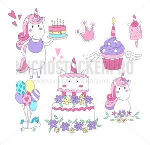 Set of Unicorn party elements. Cake, cupcake, unicorns,balloons, ice-cream, crown. Vector illustration - Vector illustrations for everyone | Microstocker.Pro