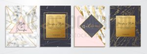 Set of abstract invitations and greeting cards for wedding, engagement, anniversary etc. Elegant textured background with lettering and golden geometric design. Vector illustration. - Vector illustrations for everyone | Microstocker.Pro