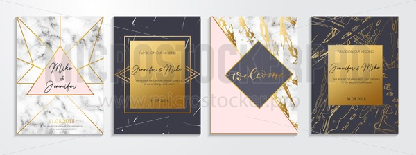 Set Of Abstract Invitations And Greeting Cards For Wedding Engagement Anniversary Etc Elegant Textured Background With Lettering And Golden
