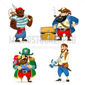 Set of cartoon pirates isolated on white background. Vecto illustration. - Vector illustrations for everyone | Microstocker.Pro