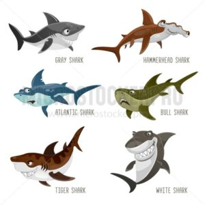 Set of cartoon sharks with different emotions isolated on white background. Vector illustration - Vector illustrations for everyone | Microstocker.Pro