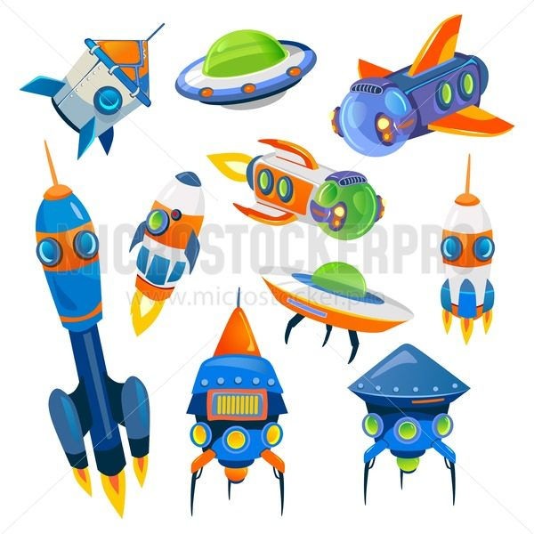 Set of cartoon spaceships isolated on white background. Vector illustration - Vector illustrations for everyone | Microstocker.Pro