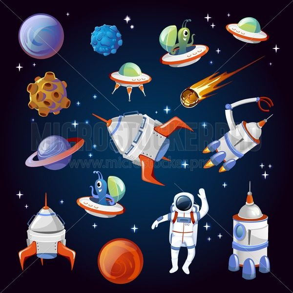 Set of colorful cartoon space elements. Aliens, planets, asteroids, spaceships, stars and astronauts. Universe vector illustration. - Vector illustrations for everyone | Microstocker.Pro