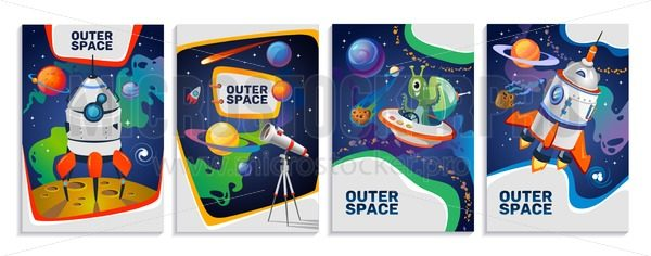 Set of colorful space cards. Vector cartoon posters. - Vector illustrations for everyone | Microstocker.Pro
