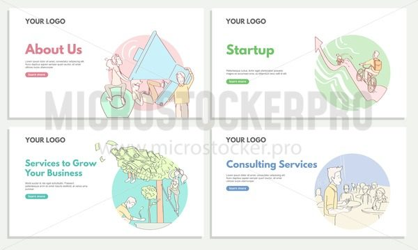 Set of commercial web banners for  Consulting and Startup service. Services to Grow your business. Startup. Consulting services. Linear web banner designs. - Vector illustrations for everyone | Microstocker.Pro